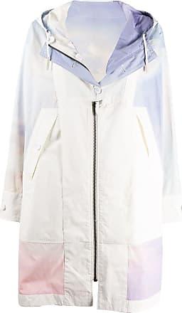 Yves Salomon - Army zipped washed tie-dye print coat - White