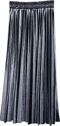 Yonglan Womens Long Skirt Stylish and Comfortable High Waist Loose Retro Gold Velvet Pleated Skirt Grey