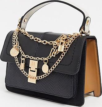 River Island chain and charm crossbody bag in black