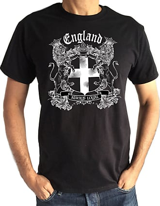 Irony Mens Black T-Shirt- England Always Loyal St Georges Flag and Euro 2016 TS102 (XXLarge)