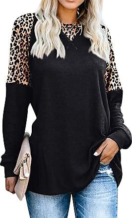 Dresswel Women Leopard Patchwork Long Sleeve Tops Tunic Pullover Crew Neck Color Block Blouse Tshirt Black