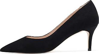 EDEFS Womens Pointy Toe Low Heel Court Shoes 6.5CM Mid Heel Pumps Dress Shoes Black EU45/UK10.5