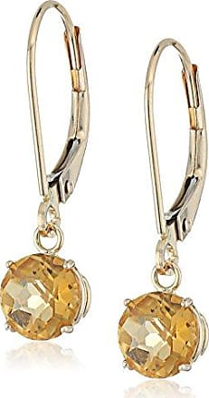 Amazon Collection 10k Yellow Gold Round Checkerboard Cut Citrine Leverback Earrings (6mm)