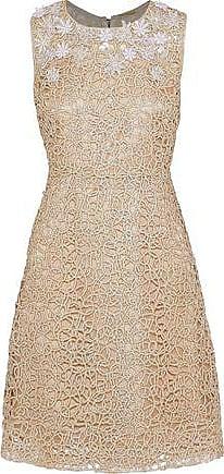Elie Tahari Elie Tahari Woman Ophelia Embellished Metallic Guipure Lace Dress Gold Size 4