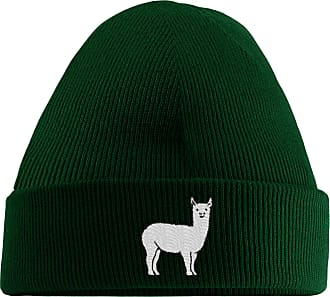 HippoWarehouse Llama Embroidered Beanie Hat Bottle Green