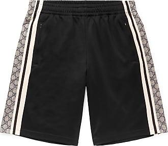 Gucci Logo-print Striped Tech-jersey Shorts - Black