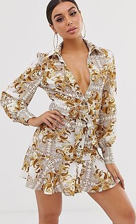 Missguided Tief ausgeschnittenes Hemdkleid mit Rüschensaum und Schaldruck-Weiß