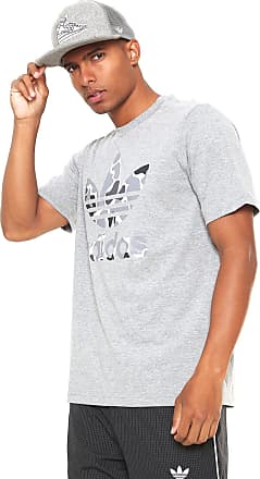 21e9a23a19f adidas Originals Camiseta adidas Originals Camo Trefoil Cinza