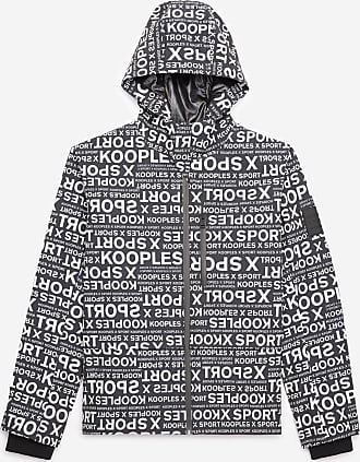 The Kooples Hooded black parka with logo print - MEN