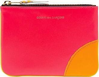 Comme Des Garçons Comme Des Garçons Wallet - Panelled Mini Leather Coin Purse - Womens - Pink Multi