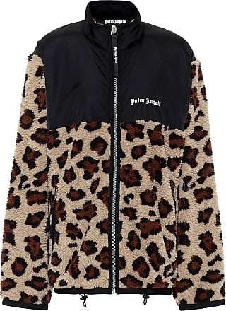 Palm Angels Leopard-print fleece jacket