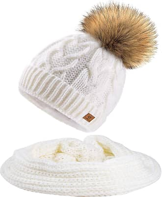 morefaz Set Scarf & Hat Women Mohair Wool Winter Beanie Hat Worm Knitted Neck Hats Fleece Pom Pom (Ecru Set Hat&Scarf)