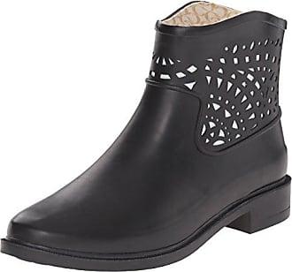 Chooka Womens Fashion Rain Bootie, Laser Cut Black, 9 M US