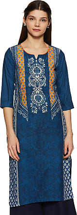 Aurelia Womens Cotton Straight Kurta (19FEA10561-500287_ Blue_ Medium)
