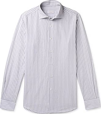 Incotex Fellini Slim-fit Striped Cotton Shirt - Gray