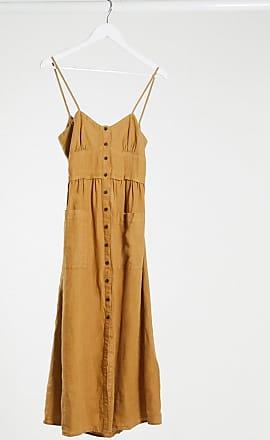 Whistles Milana tie back linen midi dress in beige-Brown