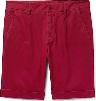 Aspesi Pleated Cotton-twill Chino Shorts - Red