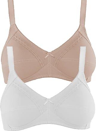 Naturana Womens Pack of 2 Cotton Soft Bra 86545 Light Beige White 42 DD