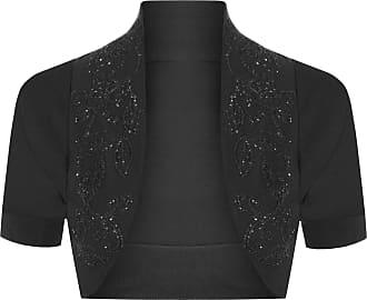 The Celebrity Fashion Womens Cotton Sequin Beaded Cap Short Sleeve Shrug Bolero Cardigan Top Size 8-26