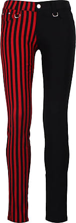 Banned Striped Skinny Jeans Black & Red