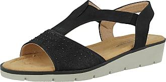 Cushion-Walk Ladies Open Toe T Bar Slip On Elastic Sling Back Diamante Comfort Summer Sandals Size 3-8 (UK 3/EU 36, Black)