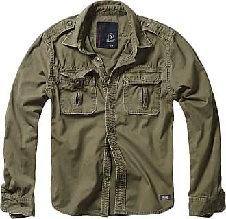 Brandit Mens Vintage Longsleeve, Olive Long-Sleeved Shirt, XXXXX-Large