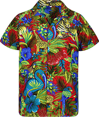 V.H.O. Funky Hawaiian Shirt, Shortsleeve, Jungle, Red, 3XL