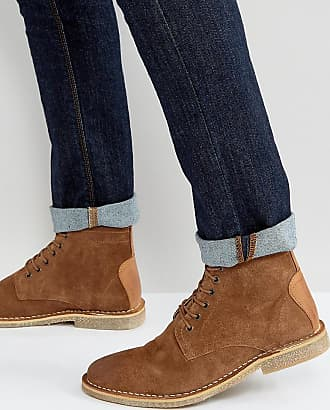Asos ASOS Wide Fit Desert Boots In Tan Suede With Leather Detail - Tan