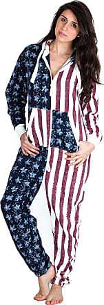 Love my Fashions Love My Fashsions Ladies Hooded Full Zip Up Fleece Onesie Adults USA Flag Camouflage Aztec Print Loungewear Suit Womens All in One Cotton Nightwear Ju