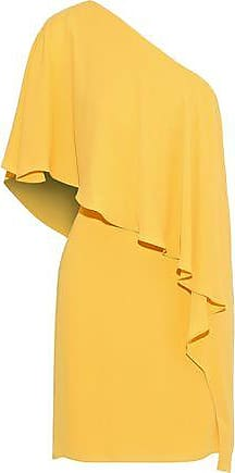 Halston Heritage Halston Heritage Woman One-shoulder Layered Crepe De Chine Mini Dress Yellow Size 0