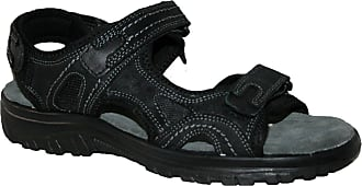 Northwest Territory mens leather upper touch close straps sandal, with cross strap front and padded insole,Black Leather, 11 UK