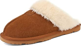 Dream Pairs Womens Faux Fur Slippers Ladies Slip On Suede Cozy Indoor Outdoor Winter House Shoes Sofie-05 Chesnut Size 11 US/ 9 UK