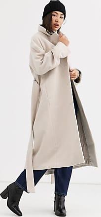 Weekday Vivi - Mantel in Beige mit Taillenband-Weiß