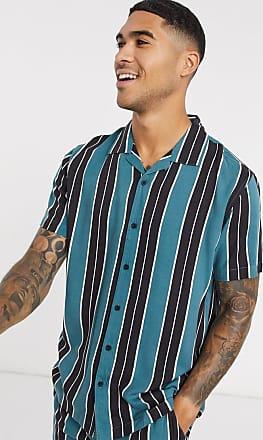Brave Soul revere collar co-ord short sleeve shirt in stripe-Green