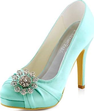 Elegantpark EP2015-PF Women Pumps Closed Toe Platform High Heel Buckle Satin Evening Wedding Court Shoes Mint UK 9