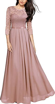 Miusol Womens Lace Chiffon 3/4 Sleeve Long Evening Dress (XXL, Pink)