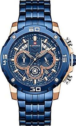 NAVIFORCE Relógio Masculino Naviforce NF9175 RGBE Pulseira em Aço Inoxidável - Azul e Dourado Rose