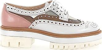 Santoni Lace-up shoes 57030 calfskin PVC Hole pattern rose silver transparent white