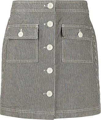 Ymc You Must Create striped button-up skirt - Blue