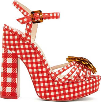 Sophia Webster Doris Leather-trim Gingham Platform Sandals - Womens - Red Multi