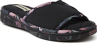 Dearfoams Womens Alice Spandex Slide Slipper, Black, XL