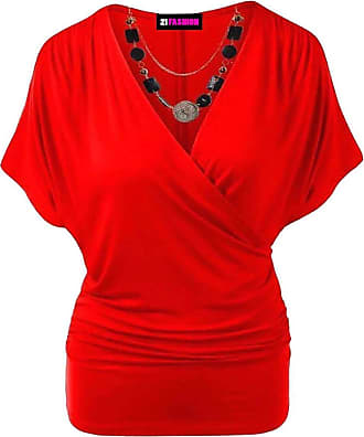 21Fashion Womens Wrap Over V Neck Crossover Batwing Top Ladies Necklace Loose Tunic Top RED UK 20-22 = US 16-18