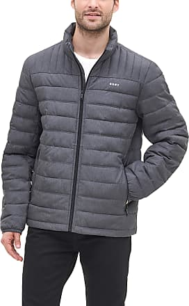 DKNY Mens Water Resistant Ultra Loft Quilted Packable Puffer Jacket Down Alternative Coat, Heather Charcoal, XL