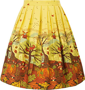 Grace Karin Fifties Style Women Knee Length Printed Skirts with Pockets Tea Party Picnic CL6294-40 X-Large