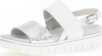 Gabor Plateau Sandale Weiß Materialmix Leder