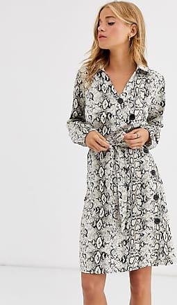 Qed London Asymmetrisches Hemdkleid mit Knöpfen vorn und Schlangenmuster-Mehrfarbig