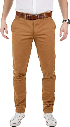 Yazubi Mens Chinos Pants Dustin Trousers with Belt Slim Fit - Belted Pure Chino Trousers Button Coffee Caramel, Tabacco Brown (4R171327), W31/L34