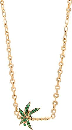 Yvonne Léon Tsavorite & 18kt Gold Palm Tree Necklace - Womens - Green Gold