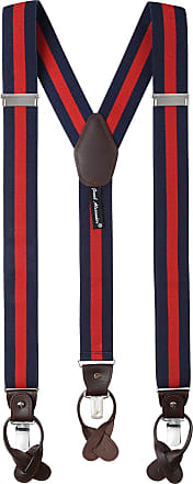 Jacob Alexander Mens Stripes Y-Back Suspenders Braces Convertible Leather Ends Clips - Navy Red
