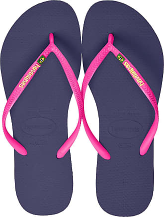 Havaianas Womens Slim Brasil Logo Flip Flops, Navy Blue, 8/9 UK